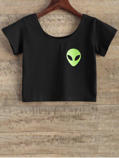 womens Funny Crop Top - BLACK S Mobile