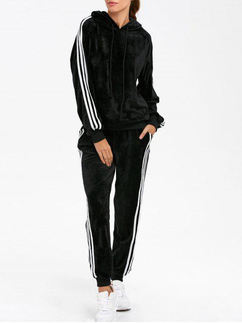 shop Velvet Hoodie and Sweatpants - BLACK S Mobile