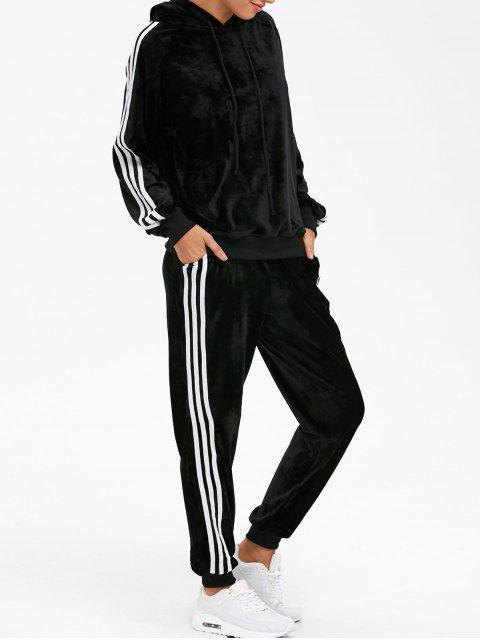 shop Velvet Hoodie and Sweatpants - BLACK S Mobile