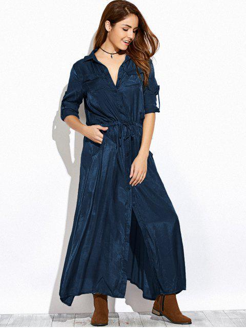 outfits Long Sleeves Maxi Shirt Dress - PURPLISH BLUE XL Mobile