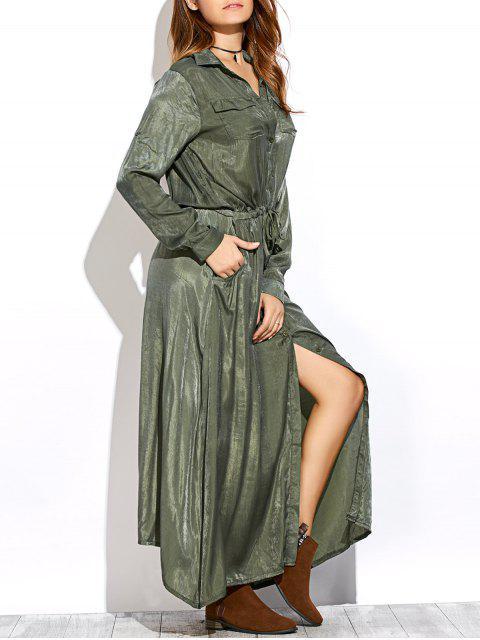 fancy Long Sleeves Maxi Shirt Dress - GREEN S Mobile