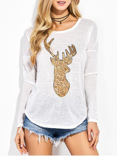 outfits Sequins Elk Graphic Tee - WHITE L Mobile