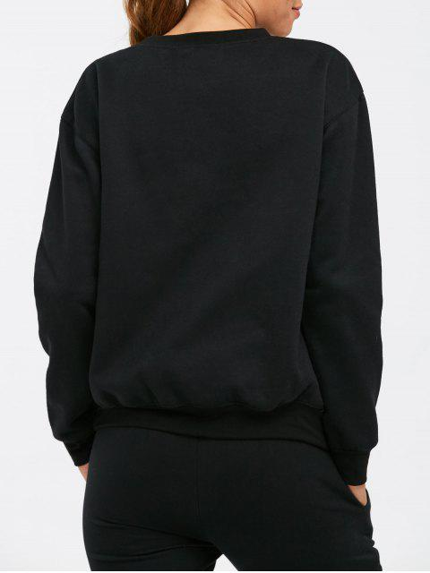 fashion Letter Pattern Crew Neck Sweatshirt - BLACK S Mobile