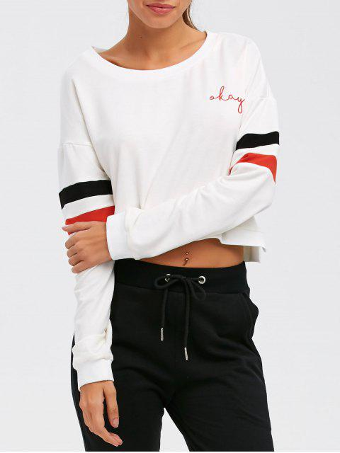 best Color Block Cropped Sweatshirt - WHITE S Mobile