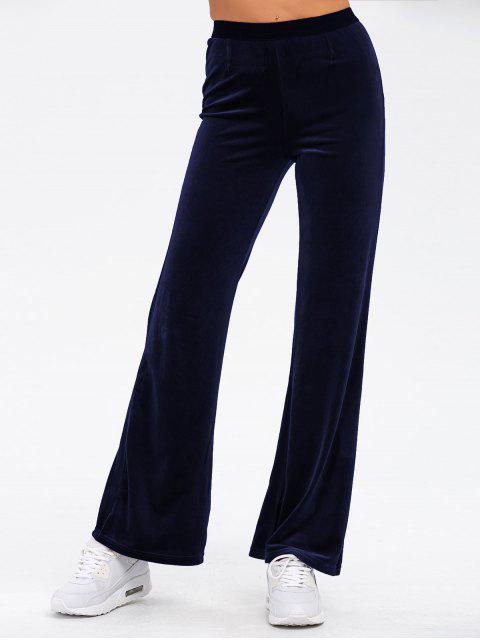 fancy Velvet Boot Cut Pants - BLUE ONE SIZE Mobile