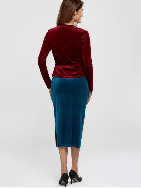 Velour Wrap Top - Rouge vineux  TAILLE MOYENNE Mobile