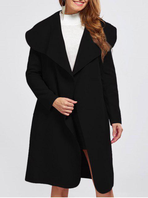 women Shawl Collar Belted Wrap Coat - BLACK S Mobile