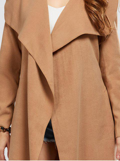 women's Shawl Collar Belted Wrap Coat - CAMEL L Mobile