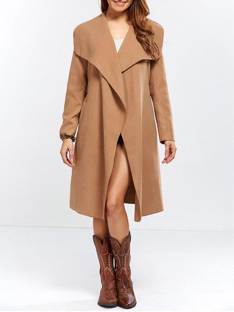 ladies Shawl Collar Belted Wrap Coat - CAMEL M Mobile