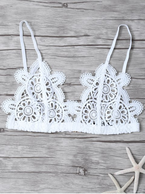 shop Crochet Flower Unlined Bra - WHITE S Mobile
