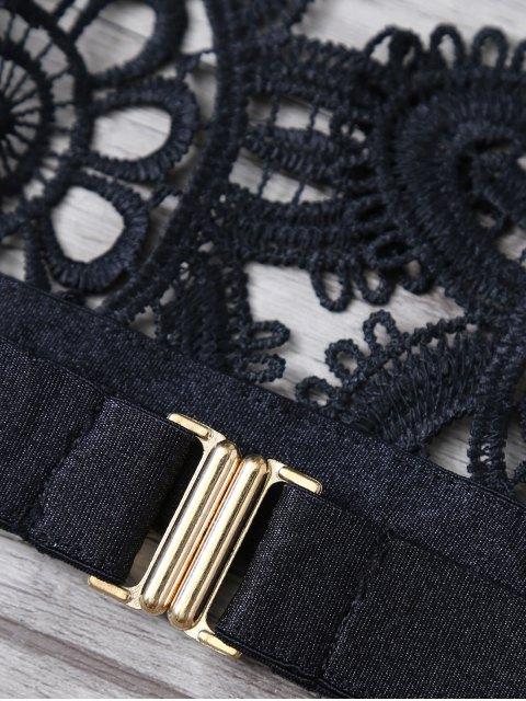 shops Crochet Flower Unlined Bra and Panty - BLACK L Mobile