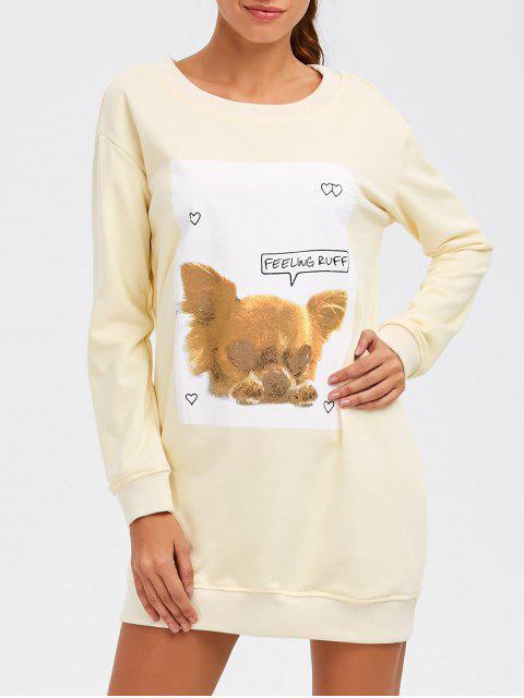 unique Puppy Graphic Long Sweatshirt - OFF-WHITE L Mobile