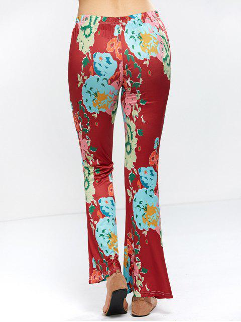 outfit Flower Bell Bottom Pants - WINE RED XL Mobile