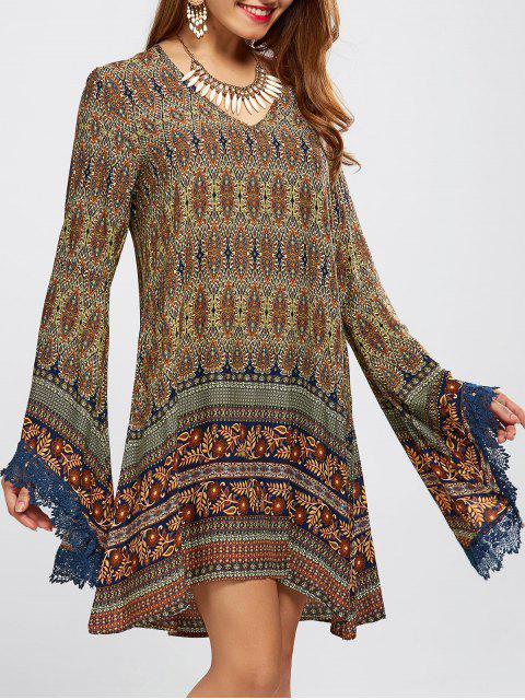 womens Bell Sleeve Lace Trim Printed Boho Dress - COLORMIX M Mobile
