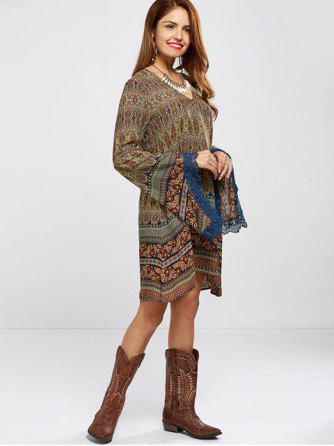 buy Bell Sleeve Lace Trim Printed Boho Dress - COLORMIX L Mobile