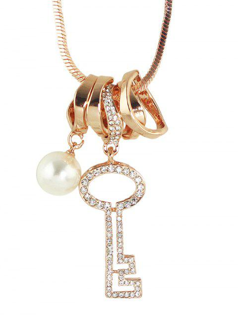 fashion Faux Pearl Rhinestone Key Sweater Chain - ROSE GOLD  Mobile