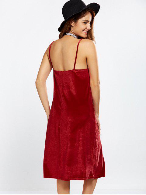 online Velvet Cami Slip Dress - RED L Mobile