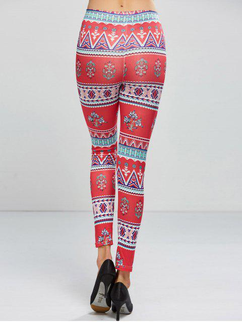 fashion Patterned Skinny Leggings - ROSE RED ONE SIZE Mobile