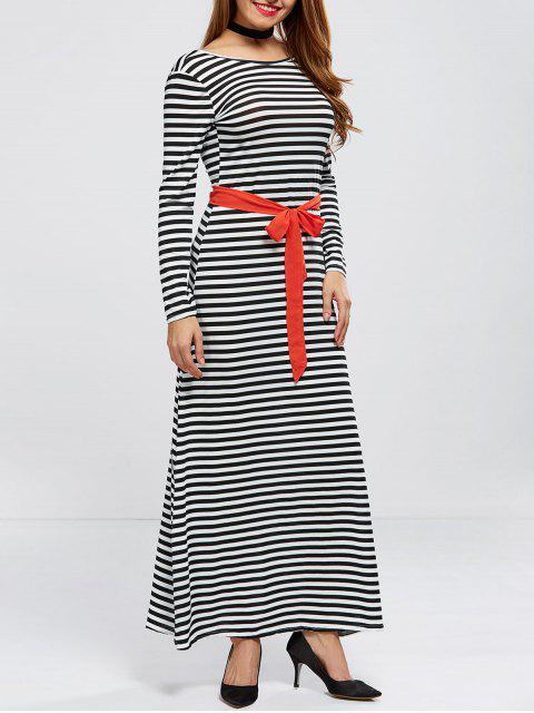 V Back Belted Striped Maxi Dress - Rayure L Mobile