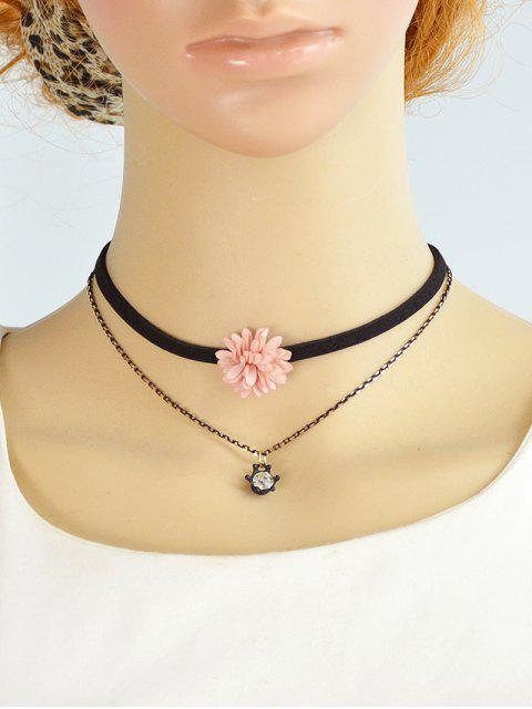 outfit Velvet Floral Double Layers Choker -   Mobile