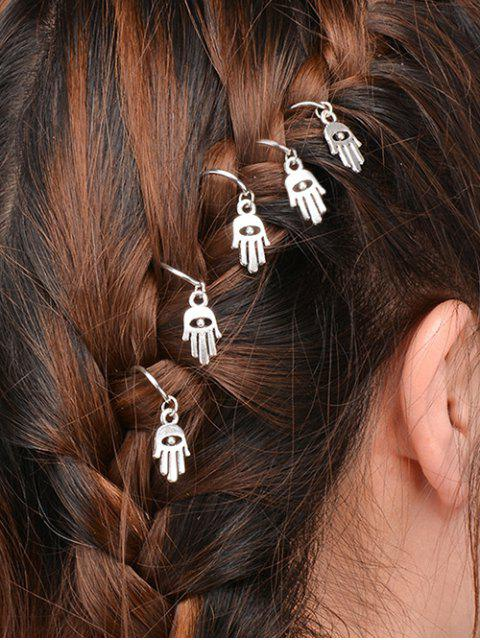 lady 5 PCS Hand Devil Eye Hair Accessory - SILVER  Mobile