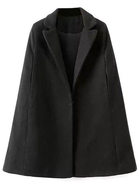 trendy Cape Woolen Coat - BLACK L Mobile