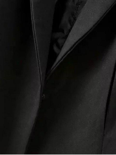 trendy Cape Woolen Coat - BLACK L Mobile