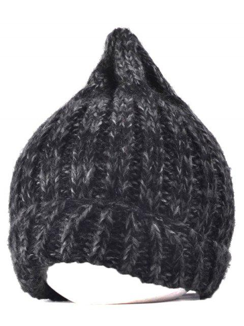 trendy Knitting Patterns Chunky Crochet Tapered Hat - BLACK  Mobile