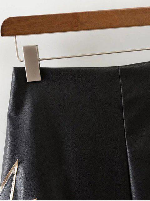 women PU Printed A-Line Skirt - BLACK S Mobile