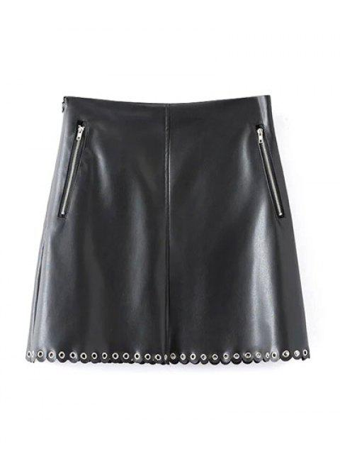 ladies PU Scalloped A-Line Skirt - BLACK L Mobile