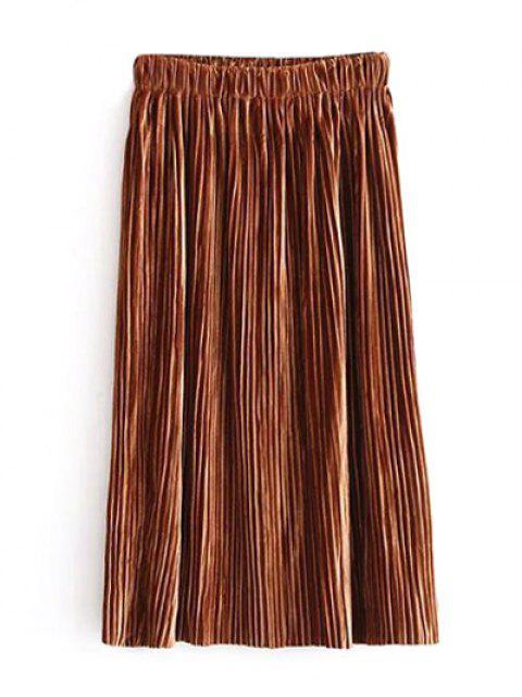 womens Midi Elastic Waist Pleated Skirt - KHAKI ONE SIZE Mobile
