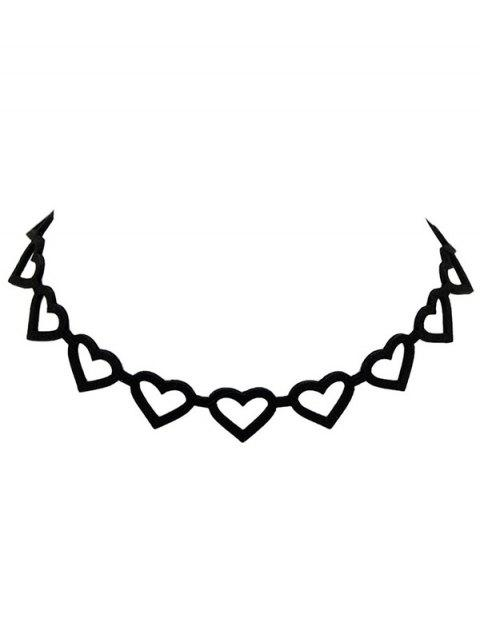 best Hollow Out Velvet Peach Heart Choker - BLACK  Mobile