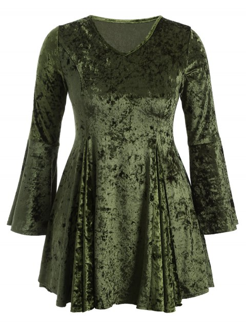 trendy Bell Sleeve V Neck Fit and Flare Velvet Dress - GREEN XL Mobile