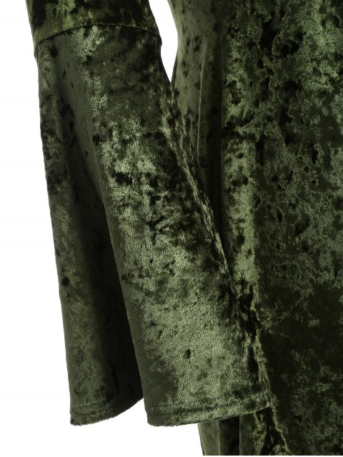 latest Bell Sleeve V Neck Fit and Flare Velvet Dress - GREEN 2XL Mobile