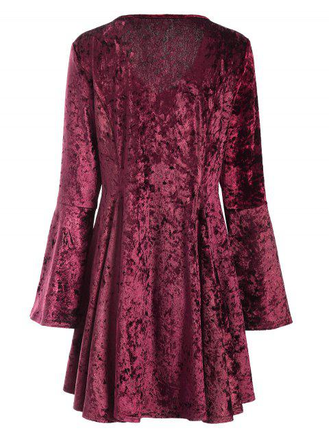 outfit Bell Sleeve Fit and Flare Velvet Dress - BURGUNDY S Mobile