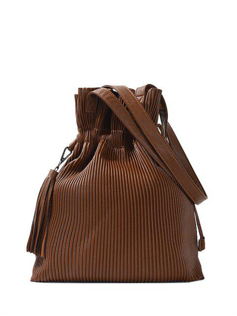 shop Tassel Ribbed Drawstring Shoulder Bag - BROWN  Mobile