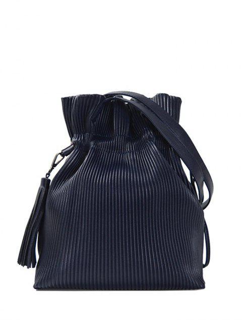 latest Tassel Ribbed Drawstring Shoulder Bag - DEEP BLUE  Mobile