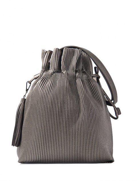 trendy Tassel Ribbed Drawstring Shoulder Bag - SILVER GRAY  Mobile