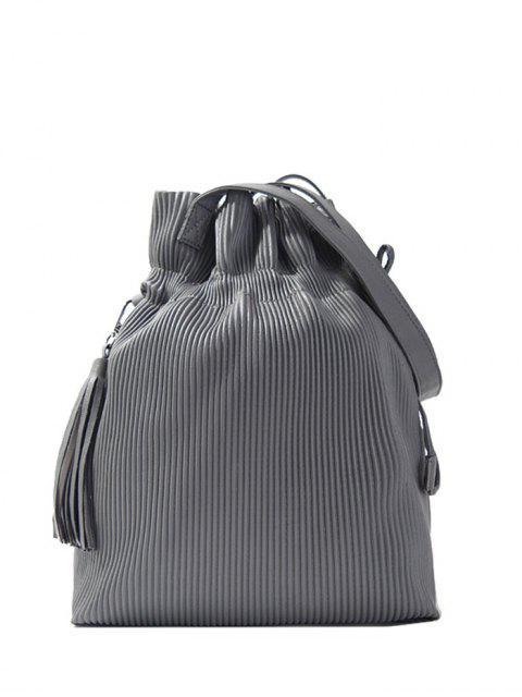 fashion Tassel Ribbed Drawstring Shoulder Bag - GRAY  Mobile
