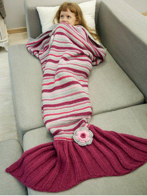 shops Knitted Sofa Mermaid Tail Blanket - RED  Mobile