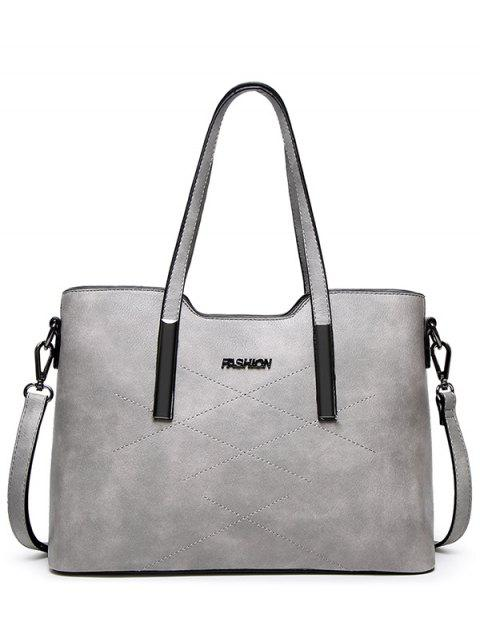 fancy Stitching Metal Embellished Shoulder Bag - LIGHT GRAY  Mobile