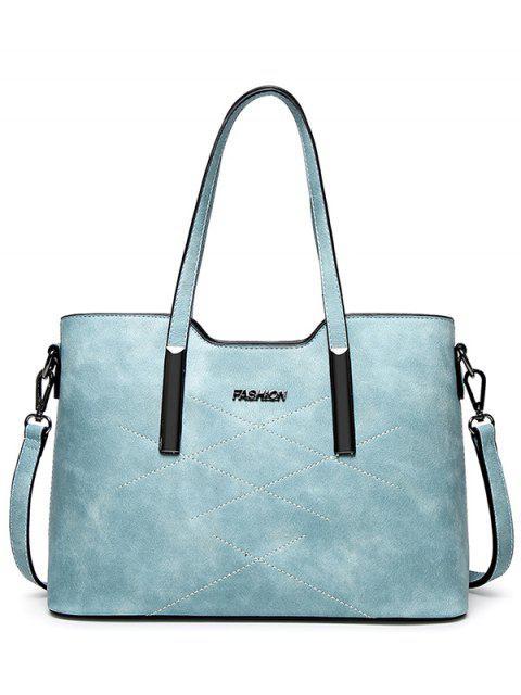 sale Stitching Metal Embellished Shoulder Bag - LIGHT BLUE  Mobile