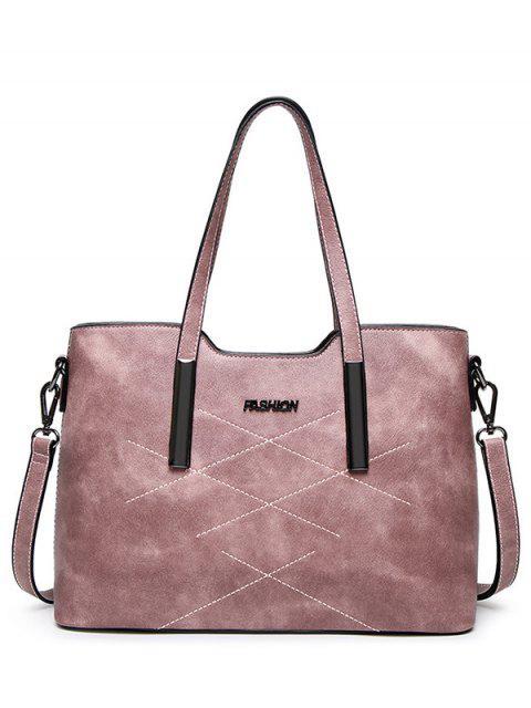 unique Stitching Metal Embellished Shoulder Bag - PINK  Mobile