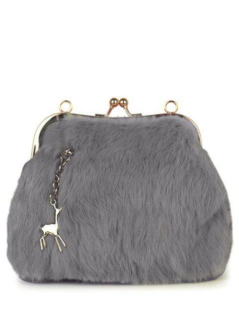 latest Kiss Lock Furry Evening Bag - LIGHT GRAY  Mobile