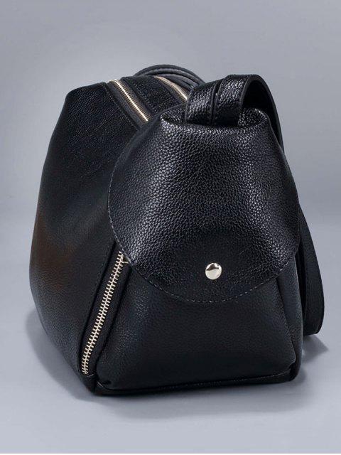 womens Convertible Textured PU Leather Shoulder Bag - KHAKI  Mobile