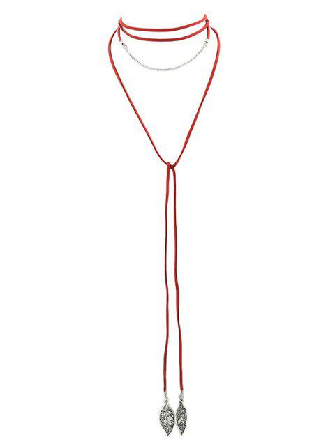 Collier Feuille Layered - Rouge  Mobile