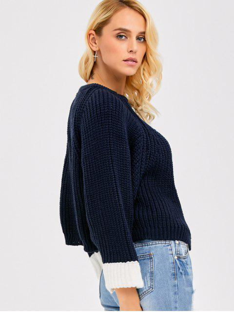 outfit Color Block Batwing Sleeve Ribbed Sweater - PURPLISH BLUE ONE SIZE Mobile