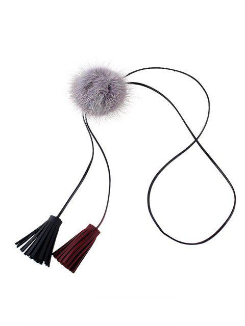 chic Fringe Faux Fur Ball Necklace -   Mobile