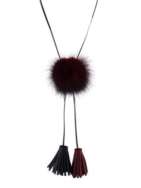 fancy Fringe Faux Fur Ball Necklace -   Mobile