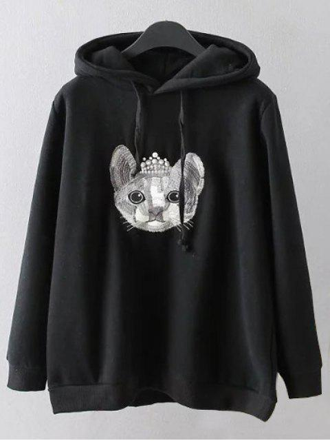 buy String Cartoon Embroidered Hoodie - BLACK 3XL Mobile